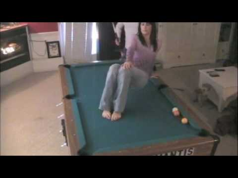 Billiard Shot with Girl on Table